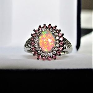 Lab-Created Opal Silver Oval Halo Ring Sz 7
